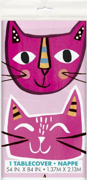 Pink Cat Plastic Tablecover